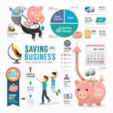Van de bedrijfs geldbesparing Malplaatjeontwerp Infographic Concept Royalty-vrije Stock Afbeelding
