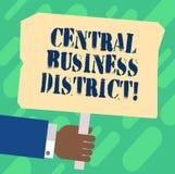 Van de bedrijfs handschrifttekst Centraal District Concept commercieel betekenen en commercieel centrum van een de analysehand va royalty-vrije illustratie