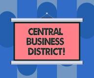 Van de bedrijfs handschrifttekst Centraal District Concept commercieel betekenen en commercieel centrum van een stads Lege Draagb royalty-vrije illustratie
