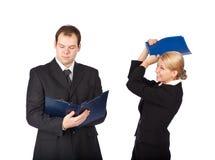 Van de bedrijfs man en van de vrouw spel. Grap stock foto