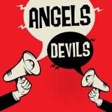 Van de bedrijfs megafoonhand conceptenengelen tegenover Duivels royalty-vrije illustratie