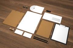 Van de bedrijfs model 3d illustratie malplaatje met het winkelen zak en blocnotes Stock Foto