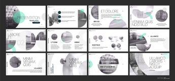 Van de bedrijfs presentatie Template Groene geometrische elementen voor diapresentaties op een witte achtergrond Stock Fotografie