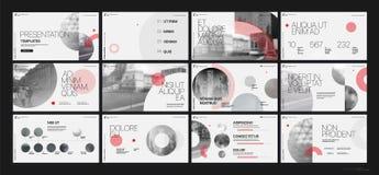 Van de bedrijfs presentatie Template Rode geometrische elementen voor diapresentaties op een witte achtergrond Stock Foto's