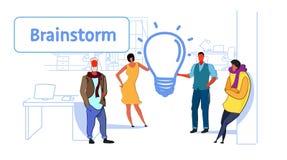 Van de de bedrijfs vergaderingsbrainstorming van de zakenluigroep het proces mensenteam die het nieuwe creatieve pictogram van de vector illustratie
