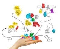 Van de bedrijfs vrouwenhand greep gekleurde schetsen Stock Afbeeldingen