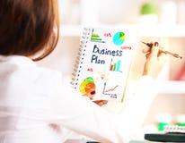 Van de bedrijfs vrouwentekening schets Stock Foto