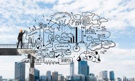 Van de bedrijfs zakenmantekening conceptuele schetsen Stock Afbeeldingen