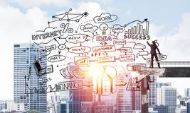 Van de bedrijfs zakenmantekening conceptuele schetsen Stock Afbeelding