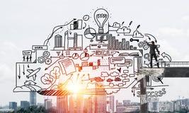 Van de bedrijfs zakenmantekening conceptuele schetsen Stock Foto's