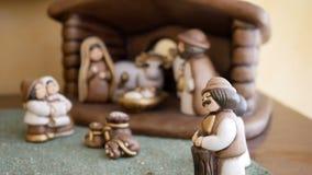 Van de beeldjeskerstmis van de geboorte van Christusscène de godsdienstige traditie stock videobeelden