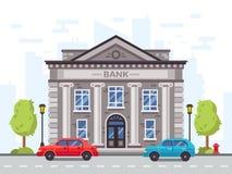Van de beeldverhaalbank of overheid de bouw met roman kolommen Het huis vectorillustratie van de geldlening vector illustratie