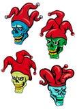 Van de beeldverhaalclown en joker schedels Royalty-vrije Stock Afbeelding