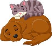Van de beeldverhaalkat en hond slaap vector illustratie
