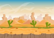 Van de beeldverhaalzand en steen het landschap van de rotsenwoestijn met cactussen en steenbergen De vector vectorillustratie van royalty-vrije illustratie