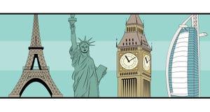 Van de bestemmingsgezichten van de groetreis historisch de kaartmalplaatje Royalty-vrije Stock Foto