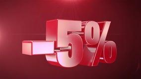 5% van de Bevorderingen van de Verkoopanimatie op Rode Tekst foutloos loopable Achtergrond stock illustratie