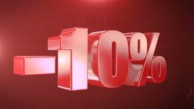 -10% van de Bevorderingen van de Verkoopanimatie op Rode Tekst foutloos loopable Achtergrond vector illustratie