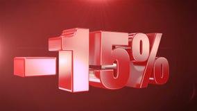 -15% van de Bevorderingen van de Verkoopanimatie op Rode Tekst foutloos loopable Achtergrond royalty-vrije illustratie
