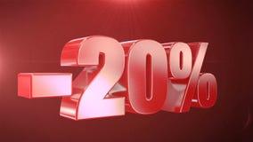 -20% van de Bevorderingen van de Verkoopanimatie op Rode Tekst foutloos loopable Achtergrond vector illustratie
