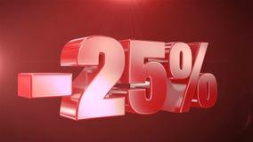-25% van de Bevorderingen van de Verkoopanimatie op Rode Tekst foutloos loopable Achtergrond vector illustratie