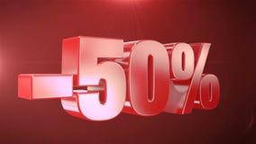 -50% van de Bevorderingen van de Verkoopanimatie op Rode Tekst foutloos loopable Achtergrond stock illustratie