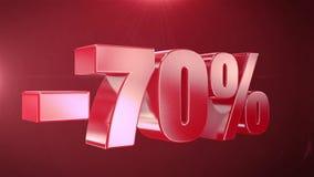 -70% van de Bevorderingen van de Verkoopanimatie op Rode Tekst foutloos loopable Achtergrond stock footage