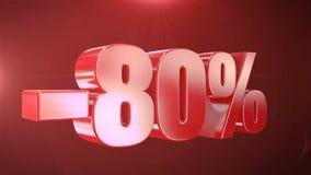 -80% van de Bevorderingen van de Verkoopanimatie op Rode Tekst foutloos loopable Achtergrond stock footage