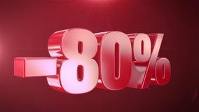 -80% van de Bevorderingen van de Verkoopanimatie op Rode Tekst foutloos loopable Achtergrond stock video