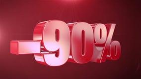 -90% van de Bevorderingen van de Verkoopanimatie op Rode Tekst foutloos loopable Achtergrond stock illustratie