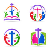 Van de de bijbelfamilie van het mensen het dwarsembleem van de de kerkgodsdienst ontwerp van het het symbool vectorpictogram stock illustratie
