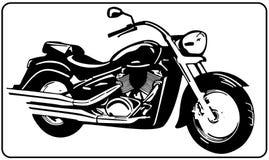 Van de bijlmotorfiets witte zwart-witte vectorillustratie als achtergrond Stock Afbeelding