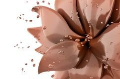 Van de bloemchocolade het abstracte 3d teruggeven als achtergrond Stock Foto