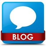 Van de blog (gesprekspictogram) het cyaan blauwe vierkante knoop rode lint in m Stock Foto's