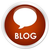 Van de blog (gesprekspictogram) premie de bruine ronde knoop Royalty-vrije Stock Afbeeldingen