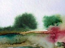 Van de de bomendecoratie waterverf abstract van de achtergrondlandschapsheuvel de hand mooi behang Stock Afbeelding
