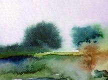 Van de de bomendecoratie waterverf abstract van de achtergrondlandschapsheuvel de hand mooi behang Stock Foto