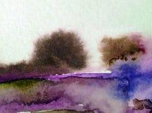 Van de de bomendecoratie waterverf abstract van de achtergrondlandschapsheuvel de hand mooi behang Royalty-vrije Stock Afbeeldingen