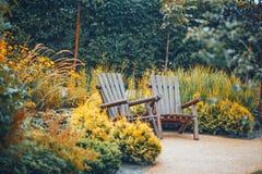 Van de bomenstruiken van parktuinen de de zomerherfst Stock Foto