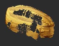 Van de de borstelslag van de handtekening gouden die de verfvlek op dark wordt geïsoleerd royalty-vrije stock afbeelding
