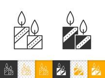 Van de de brand zwarte lijn van de kaarsvlam het eenvoudige vectorpictogram royalty-vrije illustratie