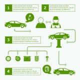 Van de brochureinfographics van de auto autodienst de lay-outmalplaatje stock illustratie
