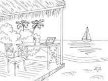 Van de de bungalow grafische baai van het strandbureau van de het landschapsschets zwarte witte de illustratievector vector illustratie
