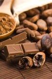 Van de cacao (cacao) de bonen royalty-vrije stock afbeelding