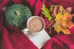 Van de de Chocoladekoffie van de theekop de Hete Deken van de de Foto Breiende Sjaal van Autumn Time Bakery Pretzel Toned Royalty-vrije Stock Foto's