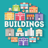 Van de cirkelinfographics van architectuurgebouwen het malplaatjeconcept Pictogrammenontwerp voor uw product of ontwerp, Web en m Royalty-vrije Stock Foto