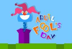 Van de Clownhead in surprise van de dwaasdag de Grappige Gekke Doos April Royalty-vrije Stock Foto's