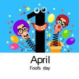 Van de Clownhead in surprise van de dwaasdag de Grappige Gekke Doos April Stock Foto's
