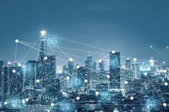 Van de commerciële de technologieconcept de industrieverbinding 5G in de toekomst stock fotografie