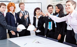 Van de commerciële geïsoleerd gelukkig teamdiversiteit Stock Afbeeldingen